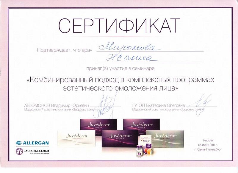 Сертификат по эстетическому омоложению лица