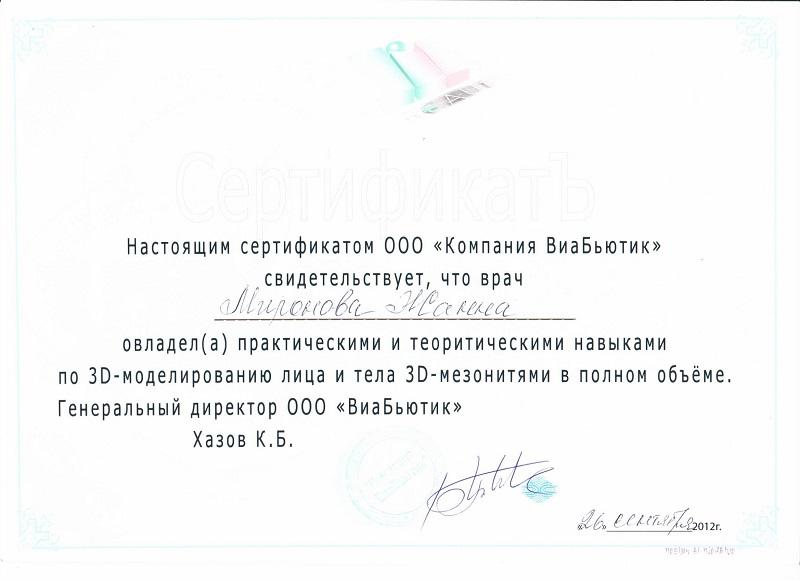 Сертификат по 3D моделирование лица и тела мезонитями