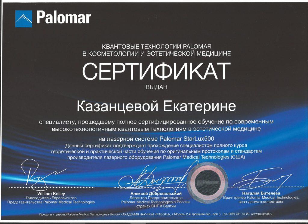 Сертификат Palomar